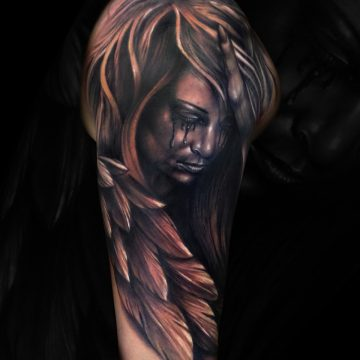 Grayscale-Crying-Angel-Half-Sleeve-JAdkins
